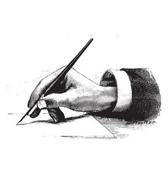 hand holding a pen front view vintage engraving vector image