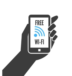 Hand holding smartphone with free wifi vector