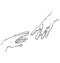 Hands engraving vector