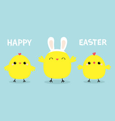 happy easter chicken bird set line face head vector image