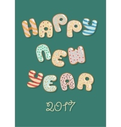 Happy new year 2017 sweet donuts vector