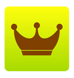 king crown sign brown icon at green vector image