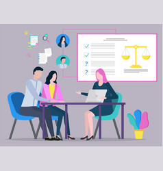 lawyer and client judge consultation plan vector image