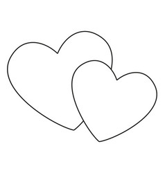 line art black and white pair of loving hearts vector image