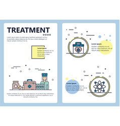 Line art medical treatment poster template vector