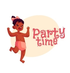 Little african baby girl dancing happily party vector
