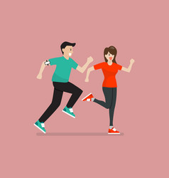 man and woman running exercise vector image