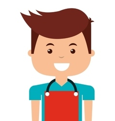 man with apron isolated icon vector image