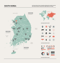 Map south korea high detailed country map vector