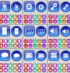 Monitor Gear Key Cupboard Files Sound Chat bubble vector image