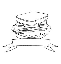 Monochrome blurred contour of sandwich with ribbon vector