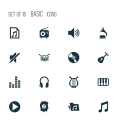 Multimedia icons set collection of cd lyre vector