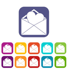 Open envelope with heart icons set vector