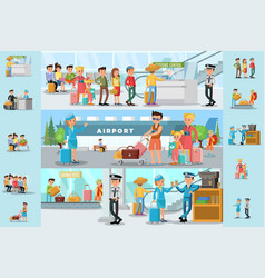 People in airport infographic template vector