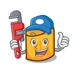 Plumber rigatoni mascot cartoon style vector