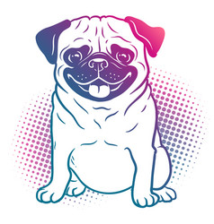 pug dog pop art style in bright neon rainbow vector image