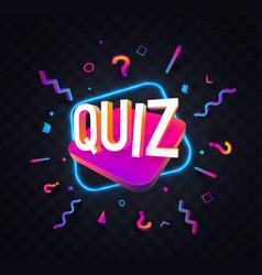 Quiz symbol neon trivia night vector
