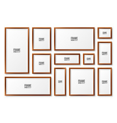 realistic blank wooden picture frames collection vector image