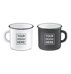 Realistic enamel metal white and black mugs vector