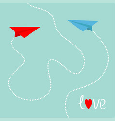 Red and blue origami paper planes dash heart in vector