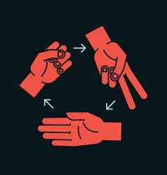 rock scissors paper gestures stylized hands in vector image