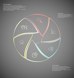 Rounded infographic consists of six parts on dark vector