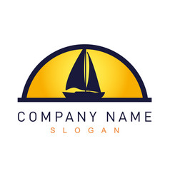 Sail boat logotype vector