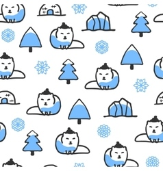 Seamless pattern with cute doodle arctic fox vector