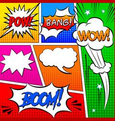 set comic speech bubbles or comics retro pop vector image