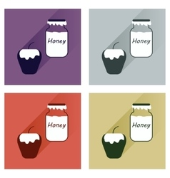 Set flat icons with long shadow honey and vector