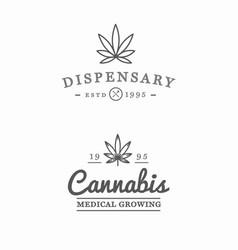 Set medical cannabis marijuana sign or label vector