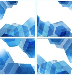Set of abstract hexagon geometric blue backgrounds vector image