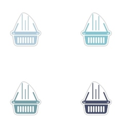 Set of paper stickers on white background basket vector