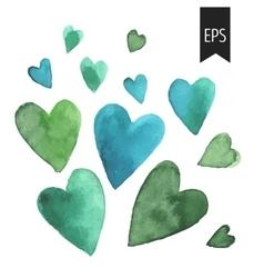 set of watercolor green heart vector image