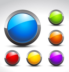 Shiny button set vector