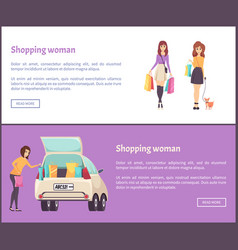 Shopping woman web posters female shopaholic woman vector