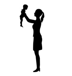 silhouette of a woman with a child vector image