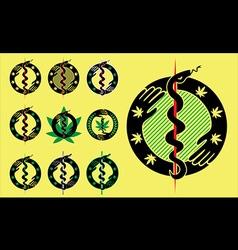 Snake silhouette symbol marijuana cannabis leaf vector