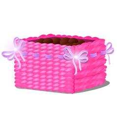stylish flower pot in form a wicker basket vector image