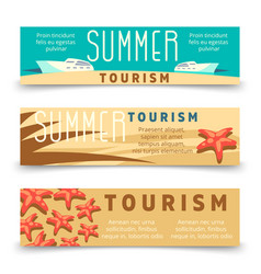 summer tourism banner template with yacht and vector image
