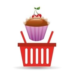sweet cupcake basket vector image