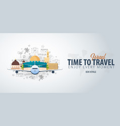 Travel to israel time to travel banner with vector