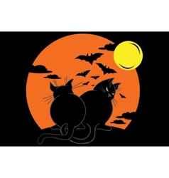 Two fat black cats over moonlight vector