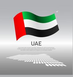 United arab emirates wavy flag and mosaic map vector