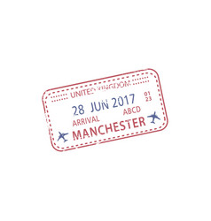 visa stamp arrival to manchester airport isolated vector image