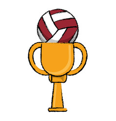 Volleyball award cup sport win vector