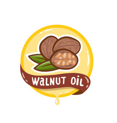 walnut oil logo natural product emblem vector image