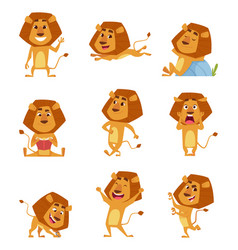wild lion cartoon cute african big lions mascot vector image