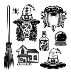 witch and halloween graphic objects vector image