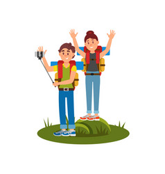 young couple of tourists making selfie using vector image